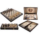 Шахматы 3179 турнирные + нарды, коричневые 40x20x5см (король-75мм)