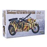 Мотоцикл с коляской Zundapp KS 750 (Цюндапп) и прицепом (GWH-L3508) Масштаб:  1:35