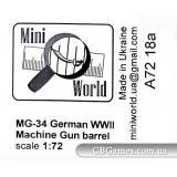 Немецкий ствол MG-34 (2 шт) (MINI7218a) Масштаб:  1:72