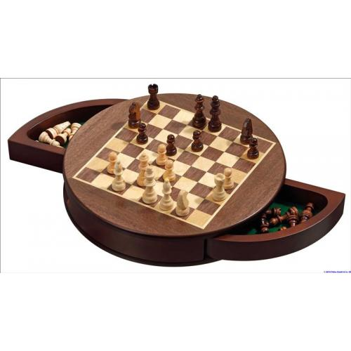 Шахматы круглые, магнитные, клетка 25 мм. (Philos 2727) Германия