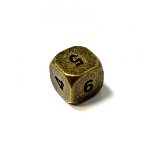 Кубик D6 металлический, матовый,16 мм