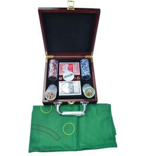 Покерный набор в деревянном кейсе на 100 фишек (арт SP11068)