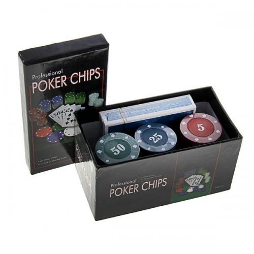 Покерный набор на 60 фишек в картонной коробке, номинал 5-50, 4гр. (арт. CC4060)