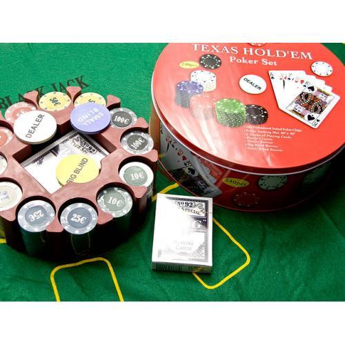 Покерный набор (2 колоды карт +240 фишек+сукно) (240T)(d-25. h -8,5 см), арт.26727