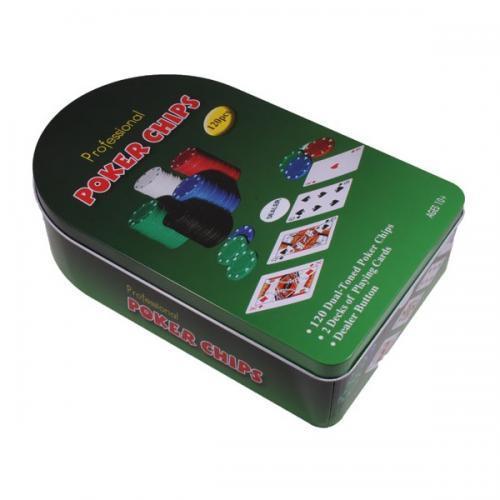 Покерный набор на 120 фишек в оловянной коробке (арт. TC04120)