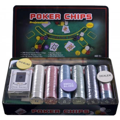 Покерный набор в оловянной коробке на 300 фишек , номинал 1-50, 4гр (арт. TC04300)