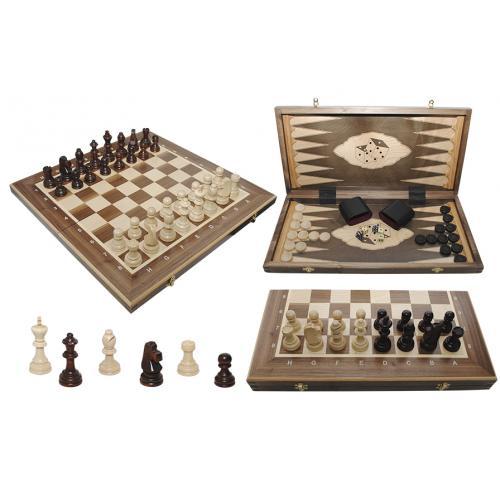 Шахматы Турнирные N5 + Шашки + Нарды Intarsia № 317015