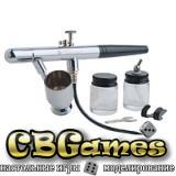 Аэрограф профессиональный 0,35 мм в комплекте со шлангом и баночками
