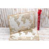 Скретч карта мира My Map Antique edition (CARIBBEAN) в наборе для любимого человека In Love