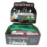 Покерный набор в оловянном кейсе на 200 фишек, номинал 1-50, 4гр. (арт TC04201C)