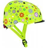 Шлем защитный детский GLOBBER, Цветы зеленый, с фонариком, 48-53см (XS/S)