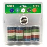 Покерные фишки в блистере (100 фишек) (19х20х4 см) (вес фишки 4 гр. d-39 мм) (100P)