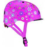 Шлем защитный детский GLOBBER, Цветы розовый, с фонариком, 48-53см (XS/S)