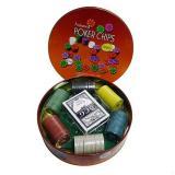 Покерный набор на 120 фишек в круглой коробке, номинал 1-100, 4гр. (арт. ZR6617)