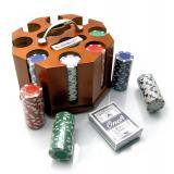 Покерный набор в деревянной подставке (200 фишек,2 колоды карт) (25х22х18 см), арт.19853