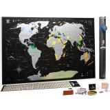 Серебряная скретч карта мира Mymap Black (черная) edition ENG в тубусе