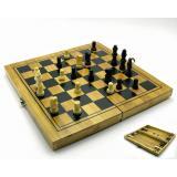 Нарды+шахматы+шашки бамбук (24х12 см) (B2412)