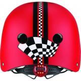 Шлем защитный детский GLOBBER, Гонки красный, с фонариком, 48-53см (XS/S)
