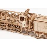 Трехмерная механическая головоломка-конструктор Локомотив з тендером «UGEARS 460»