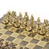 Шахматы Византийская империя, латунь, в деревянном футляре, коричневые 20х20см (S1CBRO)