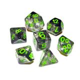 Набор кубиков RPG с туманностью 7 шт с красными и зелёными цифрами
