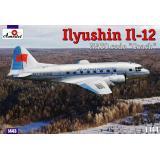 Советский транспортный самолет Илюшин Ил-12 (AMO1443) Масштаб:  1:144