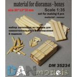 Материал для диорам: набор для изготовления 6 деревянных ящиков 1:35