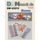 Материал для диорам из бумаги: картонные коробки в ассортименте. Набор 1. 1:43