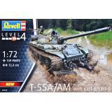 Танк Т-55А/АМ с путевым минным тралом КМТ-6