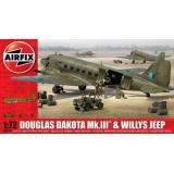 Военно-транспортный самолет Douglas Dakota MkIII с автомобилем Willys 1:72