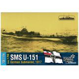 Немецкая подводная лодка U-151, 1917 (полная версия корпуса, уотерлиния)