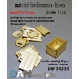Материал для диорам: набор для изготовления 10 деревянных ящиков 1:35