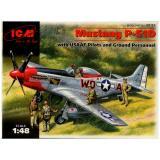 Истребитель Mustang P-51D с пилотами и техниками 1:48