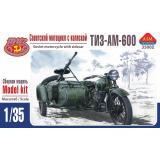 Советский мотоцикл ТИЗ-АМ-600 с коляской 1:35
