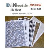 Материал для диорам из бумаги: кафельные полы, 6 шт, 180x125 мм 1:35