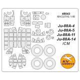 Маска для модели самолета Ju-88A-4 / A-5 / A-11 / A-14 (ICM) 1:48