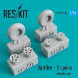 Смоляные колеса для самолета Spitfire (5 спицованных колеса) 1:72