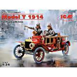 Американский пожарный автомобиль Model T 1914 г. с экипажем 1:24