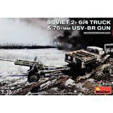 2-х тонный грузовик 6х4 с 76-мм УСВ-БР с пушкой 1:35