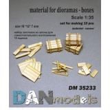Материал для диорам, набор для изготовления 10 деревянных ящиков 1:35
