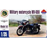 Советский армейский мотоцикл МВ-650 с коляской 1:35