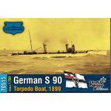 Немецкий миноносец S 90 , 1899 г. 1:700