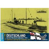 Немецкая торговая субмарина, 1916 (полная версия корпуса, уотерлиния)