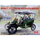 Форд T 1911 Touring с американскими автолюбителями