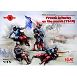 Французская пехота 1914 года на марше (4 фигуры) 1:35