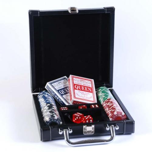Покерный набор в черном кожаном кейсе на 100 фишек, без номинала, 4гр. (арт DL100)