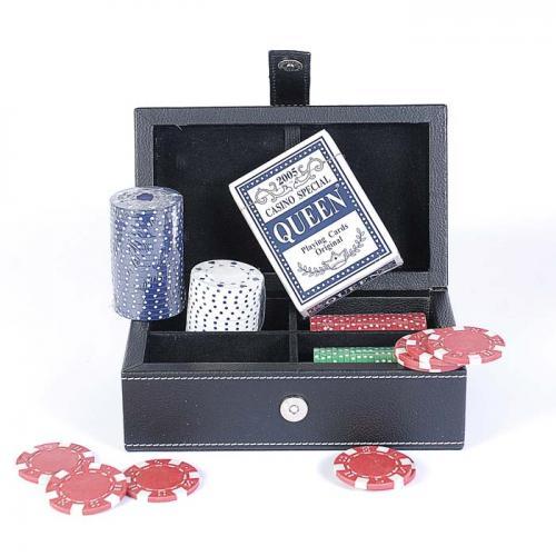 Покерный набор в черном кожаном кейсе на 80 фишек, без номинала, 4гр. (арт. PATF001)