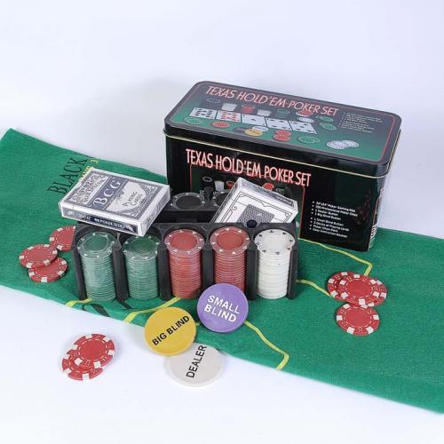 Покерный набор в оловянном кейсе на 200 фишек, номинал 1-50, 4гр. (арт TC04200D)