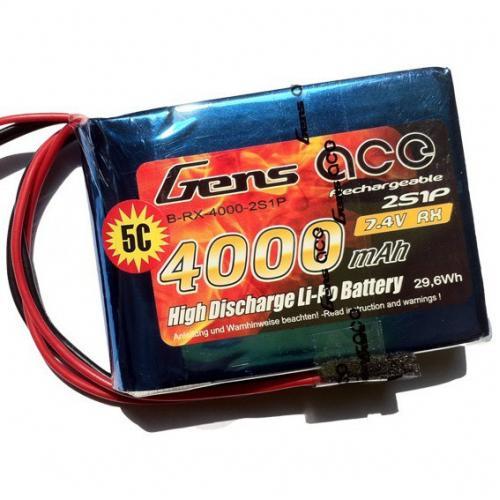 Аккумулятор Gens Ace LiPO 7,4 В 4000 мАч 2S 1С (B-RX-4000-2S1P)