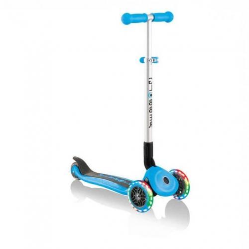 Самокат GLOBBER серии PRIMO FOLDABLE LIGHTS, голубой, колеса с подсветкой, до 50кг, 3+